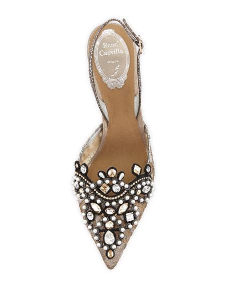 Jeweled Lace Halter Pump, Silver/Bronze