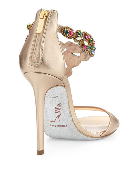 Crystal-Covered Asymmetric Sandal, Beige