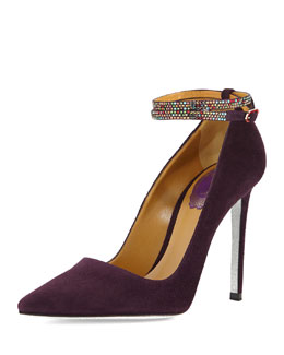 Rene Caovilla Suede Pump with Crystal Ankle-Strap, Purple