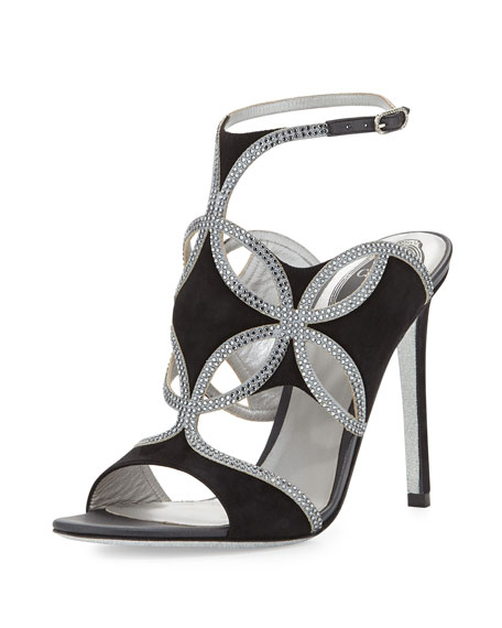 Strappy Suede & Crystal Sandal, Black/Silver