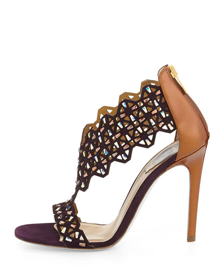 Laser-Cut Crystal-Covered Suede Sandal, Purple