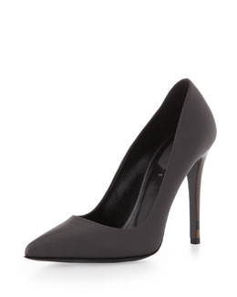 Fendi Leather Point-Toe Pump, Asphalt