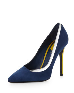 Fendi Suede & Metallic Point-Toe Pump, Indigo/Silver