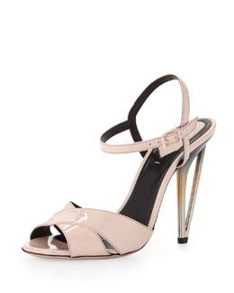 Fendi Patent Cutout-Heel Crisscross Sandal, Baby Pink