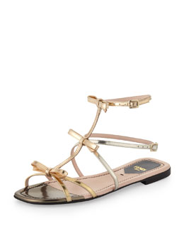 Fendi Triple Bow Metallic Flat Sandal
