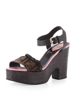 Fendi Zucca Bow Flatform Sandal