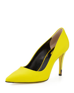 Fendi Anne Neon Point-Toe Pump, Lime