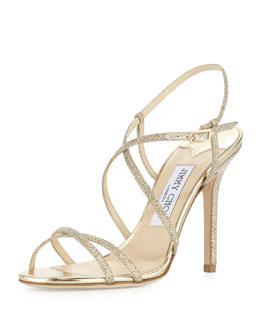 Jimmy Choo Issey Glittery Crisscross Sandal