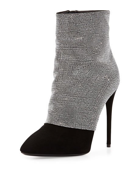 Strass and Suede Ankle Boot