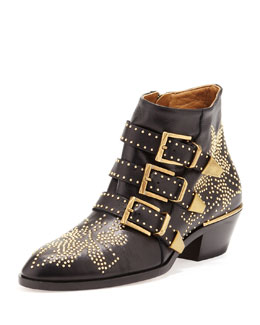 Chloe Suzanna Studded Leather Bootie, Black