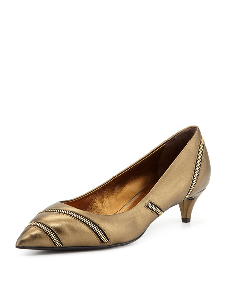 Low-Heel Metallic Zip Pump, Bronze