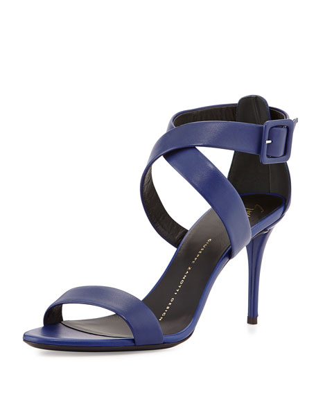 Buckled Leather Crisscross Sandal