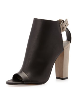 Vince Addison Peep-Toe Leather Bootie, Black/Woodsmoke