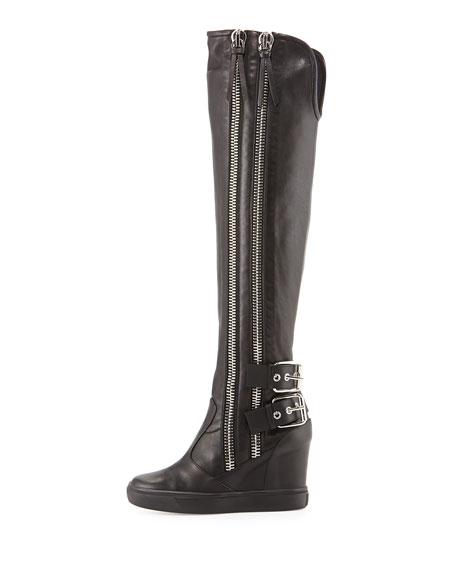 Double Zip & Buckle Knee-High Boot, Black