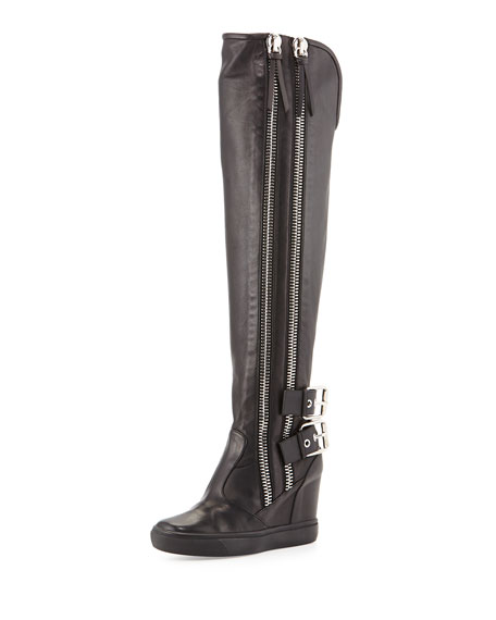 Double Zip & Buckle Knee-High Boot, Black