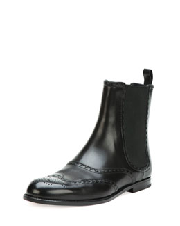 Bottega Veneta Spectator Leather Ankle Boot, Black
