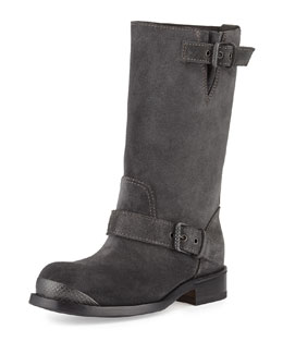 Bottega Veneta Suede Mid-Calf Buckle Boot, Gray