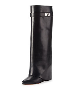 Givenchy Shark Lock Fold-Over Leather Boot, Black
