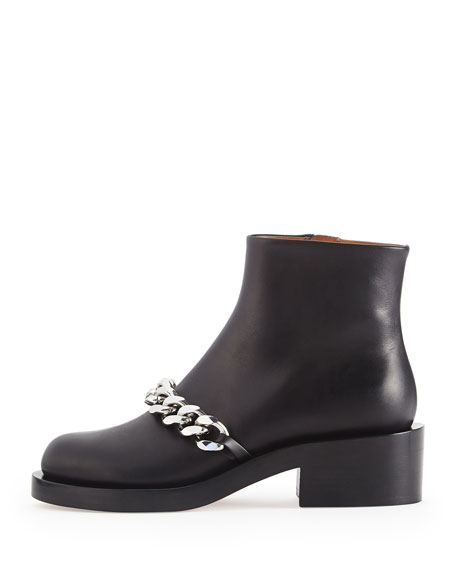 Chain Strap Leather Bootie, Black