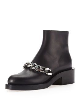 Givenchy Chain Strap Leather Bootie, Black