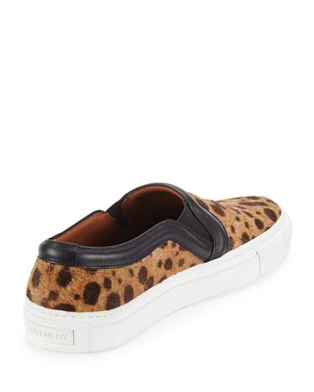 Leopard-Print Calf Hair Slip-On Sneaker