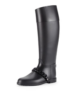 Chain-Strap PVC Rain Boot, Black
