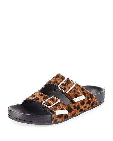 Swiss Leopard-Print Calf Hair Sandal