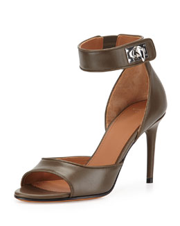 Leather Shark-Lock Naked Sandal, Khaki