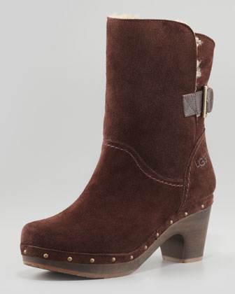 Amoret Wood-Heeled Suede Shearling Bootie, Java