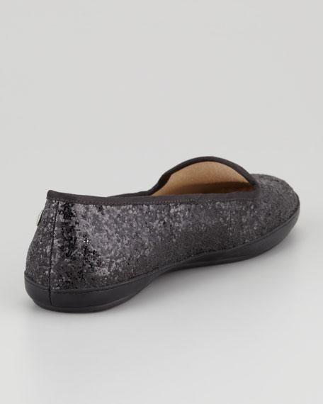 Asher -Lined Glitter Loafer, Black