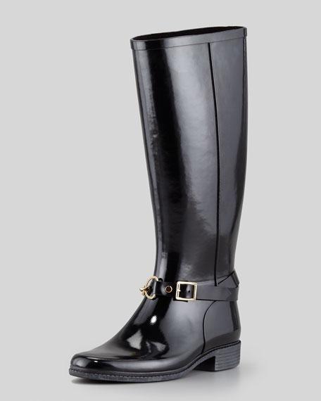 5d0e4b5bc63 Burberry Rubber Chain-Buckle Rain Boot, Black