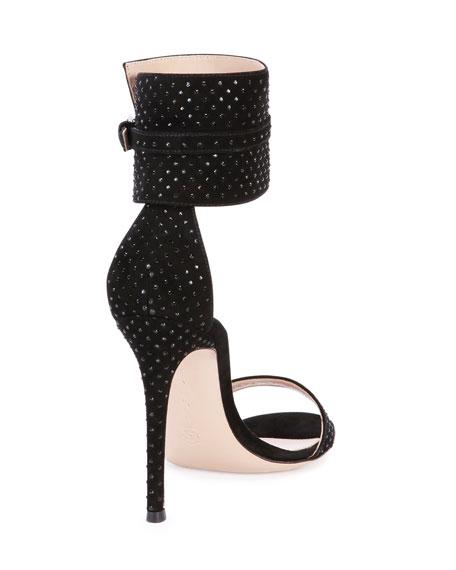 Suede & Crystal Ankle-Wrap Sandal, Black