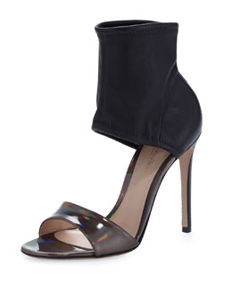 Gianvito Rossi Glove-Ankle Sandal with Iridescent Leather, Black/Silver