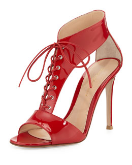 Gianvito Rossi T-Strap Patent Lace-Up Sandal, Red