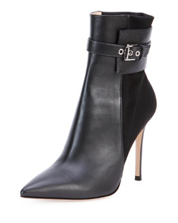 Gianvito Rossi Leather Stretch-Back Ankle Boot, Black