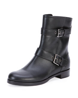 Gianvito Rossi Leather Double-Buckle Ankle Boot, Black