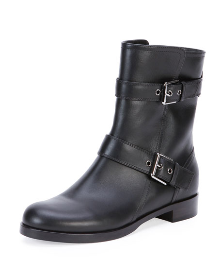 Leather Double-Buckle Ankle Boot, Black