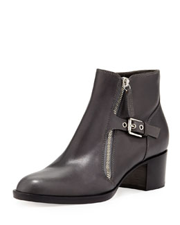 Gianvito Rossi Leather Bootie with Buckled Side Zip, Black