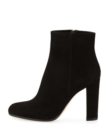 Suede Zip Ankle Boot, Black