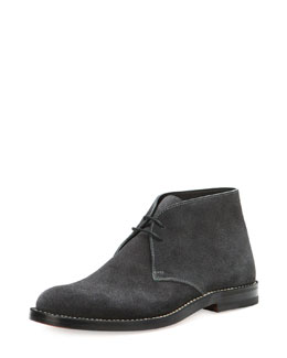 Bottega Veneta Suede Lace-Up Ankle Boot, Dark Gray