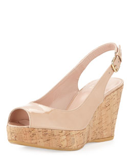 Stuart Weitzman Jean Aniline Cork Wedge, Adobe (Made to Order)