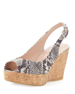 Stuart Weitzman Jean Snake-Print Cork Wedge, Natural (Made to Order)