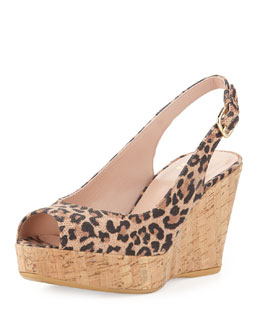 Stuart Weitzman Jean Leopard-Print Suede Cork Wedge (Made to Order)