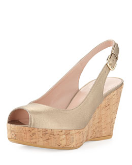 Stuart Weitzman Jean Metallic Leather Cork Wedge, Ale (Made to Order)