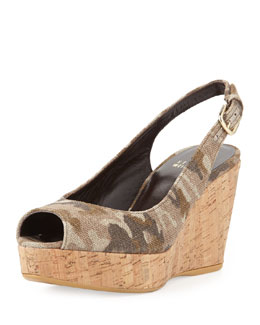 Stuart Weitzman Jean Linen Cork Wedge, Tan Camo (Made to Order)