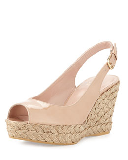 Stuart Weitzman Jean Aniline Jute Wedge, Adobe (Made to Order)