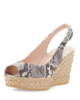 Stuart Weitzman Jean Snake-Print Jute Wedge, Natural (Made to Order)
