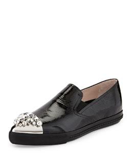 Miu Miu Patent Crystal-Toe Skate Shoe