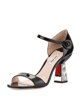 Miu Miu Crystal-Heel Mary Jane Sandal