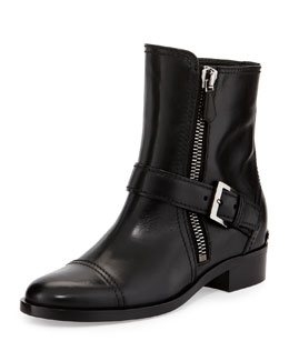 Miu Miu Side-Zipper Flat Ankle Boot